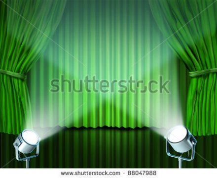 stock-photo-theater-stage-with-spotlights-on-green-velvet-cinema-curtain-and-drapes-representing-the-88047988
